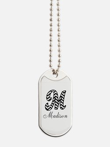 Monogram M Your Name Custom Dog Tags