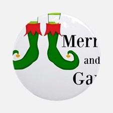 Merry and Gay Christmas Elf Ornament (Round)