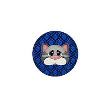 Gray Cat on Blue Mini Button