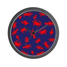 Bayou Red and Blue Wall Clock