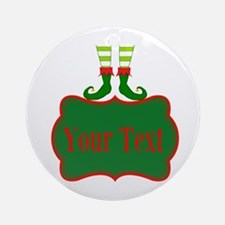 Personalizable Christmas Elf Feet Ornament (Round)