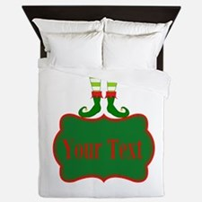 Personalizable Christmas Elf Feet Queen Duvet