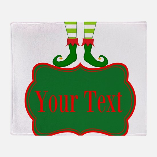 Personalizable Christmas Elf Feet Throw Blanket