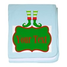 Personalizable Christmas Elf Feet baby blanket