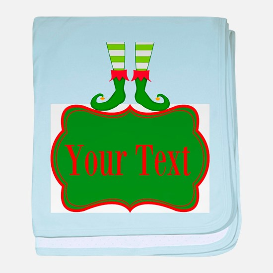 Personalizable Christmas Elf Feet baby blanket