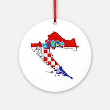 Flag Map of Croatia Ornament (Round)