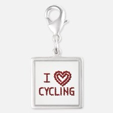 LOVE CYCLING Silver Square Charm
