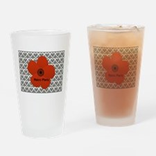 Cute Red Flower Drinking Glass