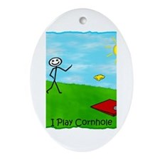 Stick Person I Play Cornhole Oval Ornament