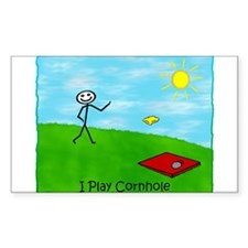 Stick Person I Play Cornhole Rectangle Decal