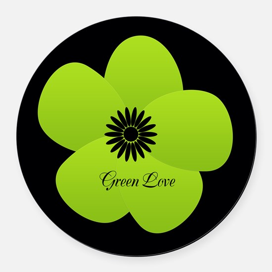 Cute Green Flower Round Car Magnet