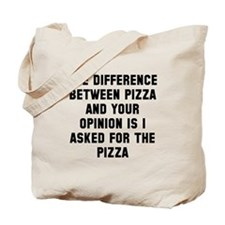 Your opinion and pizza Tote Bag