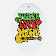 Peace-Love-Music Ornament (Oval)