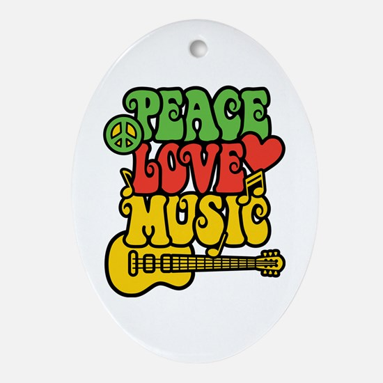 Peace-Love-Music Ornament (Oval)