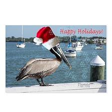 Pelican in Santa's hat Postcards (Package of 8)