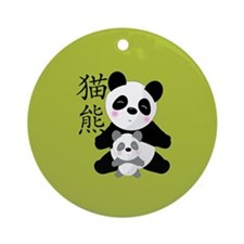 00-panda-baby-button.png Ornament (Round)