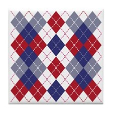 Patriotic Argyle Tile Coaster