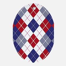 Patriotic Argyle Ornament (Oval)