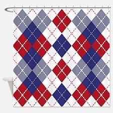 Patriotic Argyle Shower Curtain