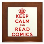 Keep Calm And Read Comics Framed Tile