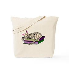 Cat Sleeping On Books Tote Bag