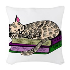 Cat Sleeping On Books Woven Throw Pillow
