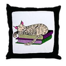 Cat Sleeping On Books Throw Pillow