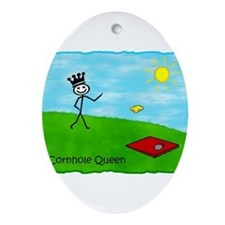 Stick Person (Cornhole Queen) Oval Ornament