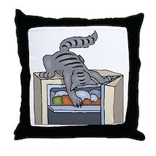 Cat In Refrigerator Throw Pillow