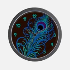 Stylized Peacock Feather Wall Clock