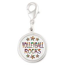 Volleyball Rocks Silver Round Charm