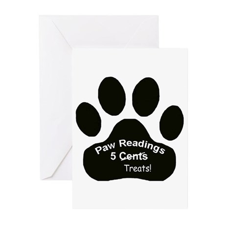 Paw Readings...5 Treats Greeting Cards (Package of