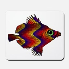 Green Eyed Discus Fish in Purple, Gold Mousepad