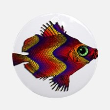 Green Eyed Discus Fish in Purple, Ornament (Round)