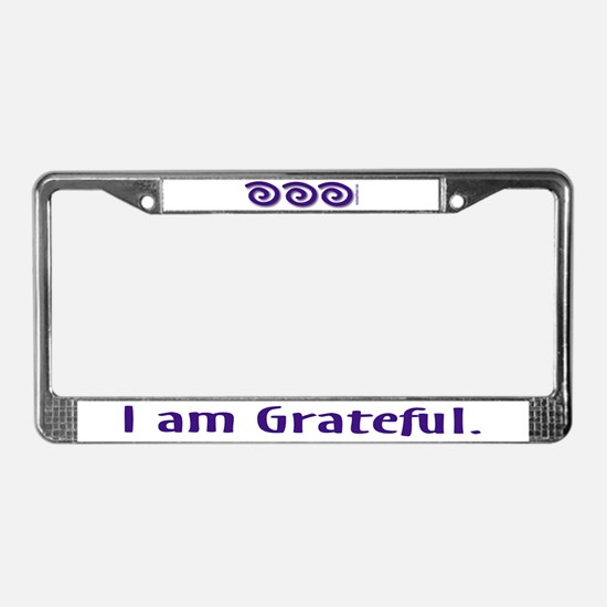 I Am Grateful License Plate Frame