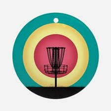 Disc Golf Basket Silhouette Ornament (Round)