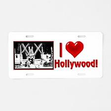 I Love Hollywood Aluminum License Plate