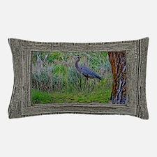 Old Cabin Window blue heron Pillow Case