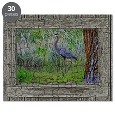 Old Cabin Window blue heron Puzzle