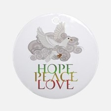 Hope Peace Love Holiday Dove Ornament (Round)