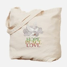 Hope Peace Love Holiday Dove Tote Bag