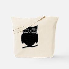 Black Inkblot Owl On A Branch Tote Bag