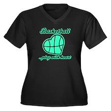 PLAY w HEART Women's Plus Size V-Neck Dark T-Shirt
