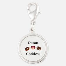 Donut Goddess Silver Round Charm
