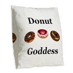 Donut Goddess Burlap Throw Pillow