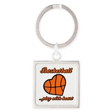 PLAY w HEART Square Keychain