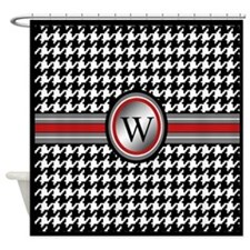 Houndstooth Monogram Initial Shower Curtain
