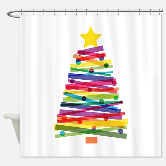 Colorful Christmas Tree Shower Curtain