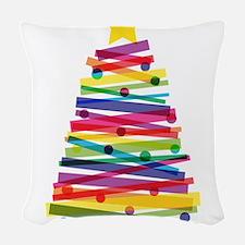 Colorful Christmas Tree Woven Throw Pillow