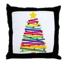 Colorful Christmas Tree Throw Pillow